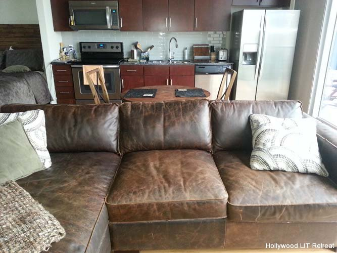 Hollywood LIT Urban Austin Retreat Magnussen Home Leather Sofa